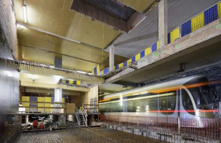 Brussel – inrichting van het premetro station De Brouckere