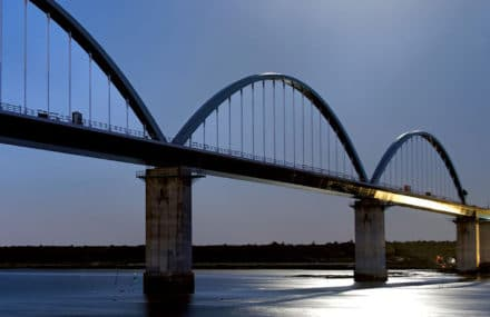 The steel design for the new railway bridge over the river Sado in Portugal