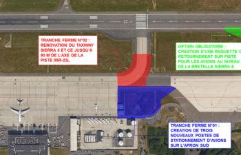 Création de trois nouveaux postes de  stationnement avions et d'une raquette de retournement